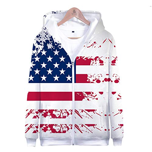 3D Print Independence Day Zipper Hoodies Fourth of July Hoodie July Fourth Sweatshirts Casual Hoody Boys Top Blue S
