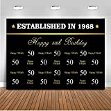 Mehofoto Happy 50th Birthday Backdrop Step and Repeat Happy Fiftieth Photography Background 7x5ft Poly Cotton Gold Font 50th Birthday Party Backdrops Banner