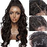 """Full Lace Wig Pre Plucked Bleached Knots Glueless Full Lace Wigs Human Hair Curly 150% Density Loose Wave Brazilian Virgin Human Hair Wigs for Black Women Wavy Wig Free Part Natural Black Color 22"""""""