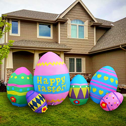 SEASONBLOW 8 Ft LED Light Up Inflatable Easter Eggs Decoration for Indoor Outdoor Home Yard Lawn Decor
