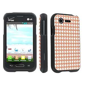 SkinGuardz LG L34C Optimus Fuel / Zone 2 VS415 Full Protection Hard Case - (Orange HoundsTooth Black)