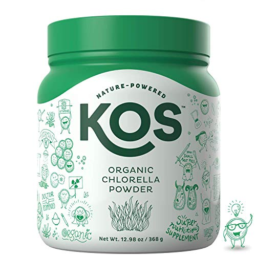 KOS Organic Chlorella Powder | Non-Irradiated, Neutral Tasting Chlorella Powder | USDA Organic, Natural Digestive Enzyme, Plant Based Ingredient, 368g, 92 Servings