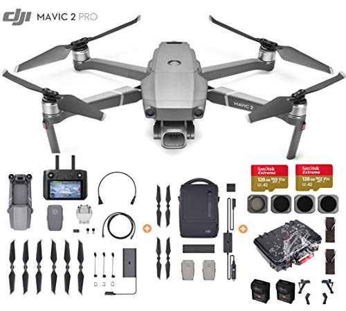 DJI Mavic 2 Pro Drone Quadcopter with Smart Controller and Fly More Kit, Waterproof Bundle, Waterproof Case, 2X 128GB SD Cards, 4 Filters and More