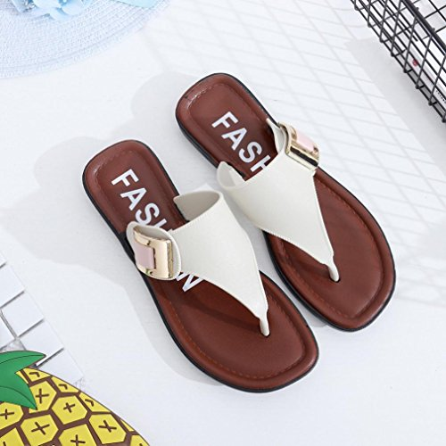 Sandalias ❤️ de Vacaciones Chanclas Planos Cómodo elástico Zapatos Mujer con de Zapatillas Ba y Chanclas Playa de Blanco Hei Mujeres de Chanclas Abierta Punta Zha Fashion Chanclas Playa A4q5CwC