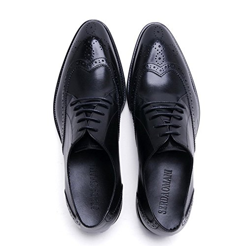 Santimon Mens Semi-rogue Pointu Bout Daile Oxfords Robe Chaussures Noir