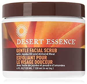Desert Essence Facial Scrub, Gentle Stimulating, With Jojoba Oil & Almond Meal, 4-Ounces (Pack of 3)