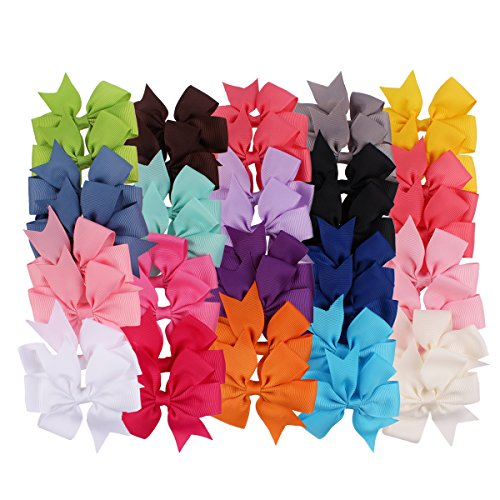 Hippih 40pcs Boutique Grosgrain Ribbon PinWheel Hair Bows clips For Baby Girls