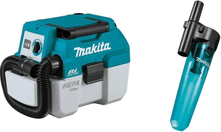 Makita XCV11Z 18V LXT Lithium-Ion Brushless Cordless 2 Gallon HEPA Filter Portable Wet/Dry Dust Extractor/Vacuum, Tool Only & 199553-5 Cyclonic Vacuum Attachment