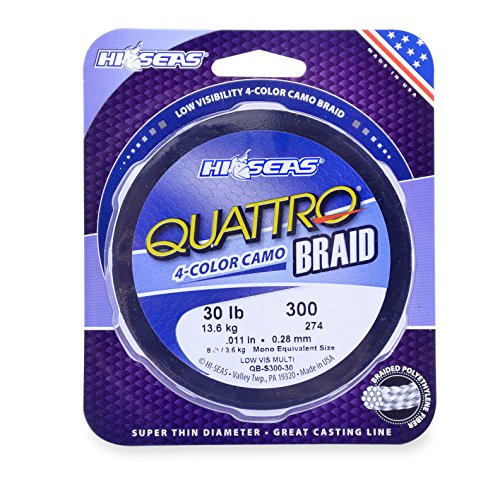 HI-SEAS QUATTRO Braid Fishing Line (300 Yards/20 Pounds, Camo) (Camo Quattro)