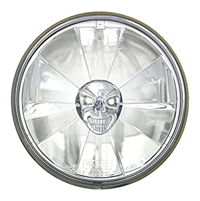 "Adjure 5-3/4"" Sunset Boulevard Style Motorcycle Headlight Bucket Combo with Pie Cut Skull Headlamp and H4 Bulb"