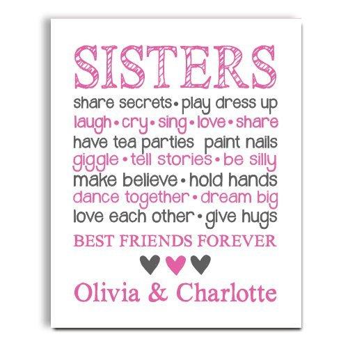 Amazon.com: Sister Wall Art | Sister Decor | Girl Room | Big Sister ...