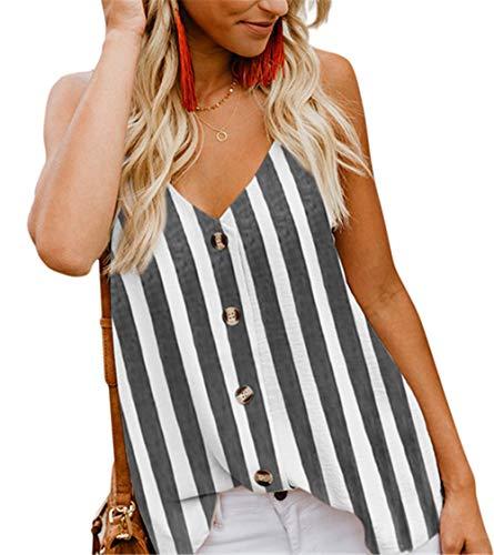 (Fleasee Women's Sleeveless Chiffon Tank Top Double Layers Casual Flowy Tunic Blouse (L, Stripe Black))