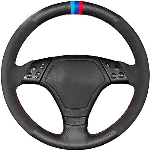 Loncky Black Genuine Leather Black Suede Auto Custom steering wheel covers for BMW E36 E39 E46 Accessories Parts