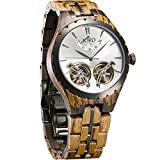 JORD Wooden Watches for Men - Meridian Series Automatic / Wood and Metal Watch Band / Metal Bezel / Self Winding Movement - Includes Wood Watch Box (Argent Zebrawood & Dark Sandalwood)