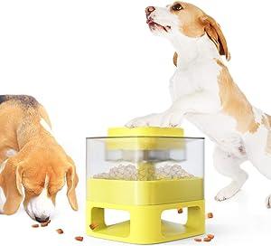 MordenApe Dog Food Feeder, Pet Toy Food Feeder, Auto Dog Food Dispenser with Interactive Performance, Happy Push Feeder (Yellow)
