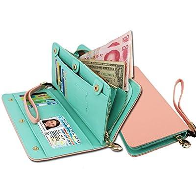 KQueenStar Women Lady Leather Wallet Purse Clutch Holder Case With Wrist Strap