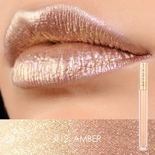 Focallure Lipstick Metallic Sparkly Makeup Glossier Glitter Lip Gloss Colorstay Liquid Lipgloss Amber