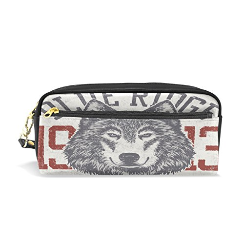 Leather Blue Ridge (Blue Ridge Wolf Leather Pen Pencil Case Bag Students Zipper Stationery Pouch School Supplies Travel Cosmetic Makeup Bag)