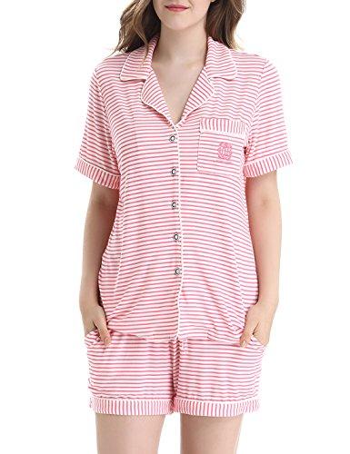 Elastic Waist Short Sleeve Pajama Set - 1