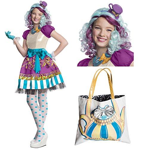 Ever After High Madeline Hatter Costume Bundle Set - Child Large Costume, Wig, and Purse ()