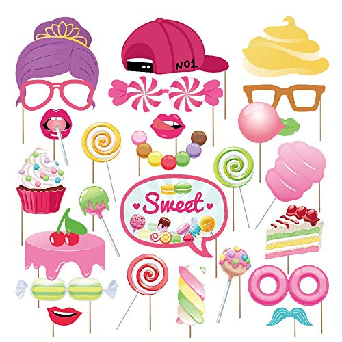 Candy Land Party (Kristin Paradise 30Pcs Candy Land Photo Booth Props with Stick, Candyland Selfie Props, Lollipop Party Supplies, Candy Shop Birthday Theme Backdrop Decorations, Boy Girl First 1st Bday Baby)