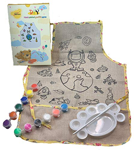 Kids Crafts DIY Kids Apron Coloring Kit - Arts And Crafts For Kids And Toddlers - Kids Art Smock With Pockets - Cute Play Kitchen Dress Up Clothes For Little Girls And Boys (Astronaut) ()