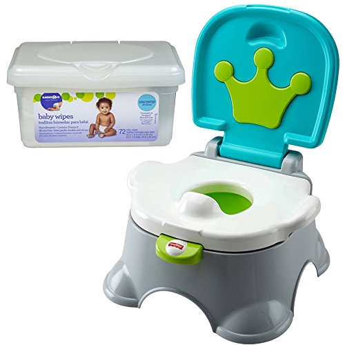 Fisher Price Royal Stepstool Potty Toilet Training Seats for Toddler Boys with Baby Wipes