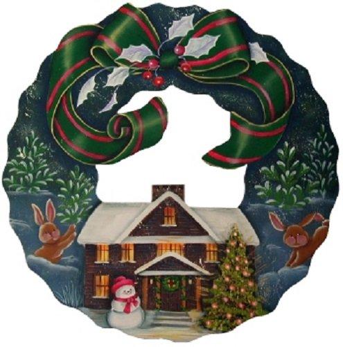 トールペイント ご自分で描く図案付白木素材 mh-377 グリーンリボンのクリスマスリース