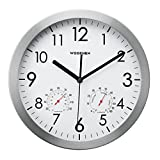 WOOPHEN 12' Silent Non-Ticking Lagre Decorative Wall Clock with Temperature & Humidity, Wall Clocks with Metal Case Decorative Living Room & Kitchen & Office (Aluminum)