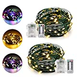 ErChen Dual-Color Battery Operated Led String Lights (Warm White/Multicolor), 2Pack 16 Ft 50 Leds color changing Dimmable Green Copper Wire Fairy Light with 8 Modes Remote Timer for Indoor Outdoor