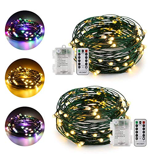 ErChen Dual-Color Battery Operated Led String Lights (Warm White/Multicolor), 2Pack 16 Ft 50 LEDs Color Changing Dimmable Green Copper Wire Fairy Light 8 Modes Remote Timer Indoor Outdoor