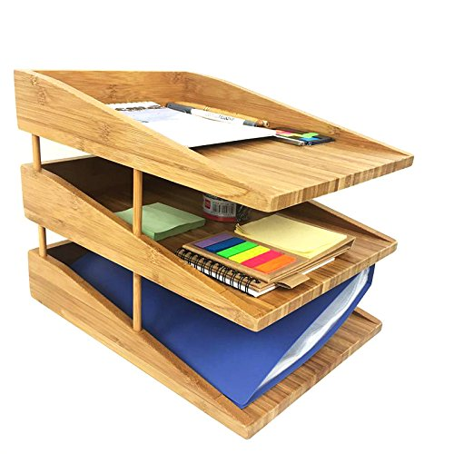 Kagura Bamboo Desk File Tray Office Organizer | Perfect for Sorting or Stacking Letter Documents, Folder or Paper Supplies | 100% Real-Bamboo Eco-Friendly by KAGURA BAMBOO (Image #1)