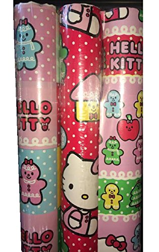 Hello Kitty ~ 3 Pack ~ Gift Wrap Paper Pink & Purple ()