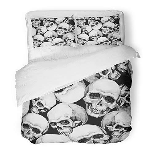 Emvency Bedding Duvet Cover Set Full/Queen Size (1 Duvet Cover + 2 Pillowcase) Halloween Watercolor Skulls Hand Mystic Emblem Halloween's Night Horror Ready Design Hotel Quality Wrinkle