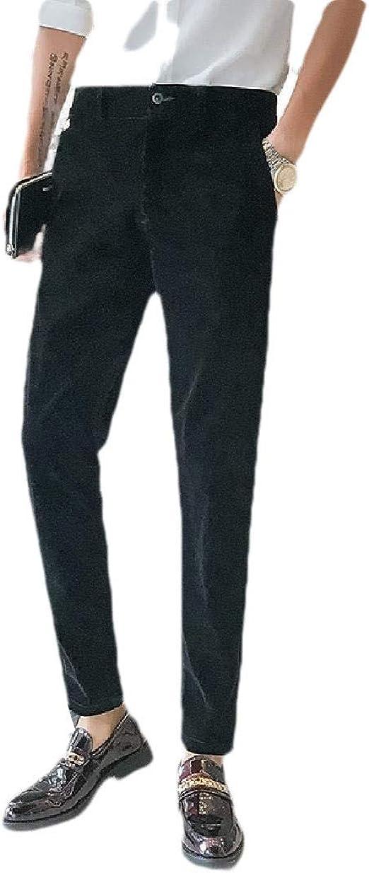 Candiyer Mens Relaxed Pure Color Velvet Business Slim Plain Front Pant