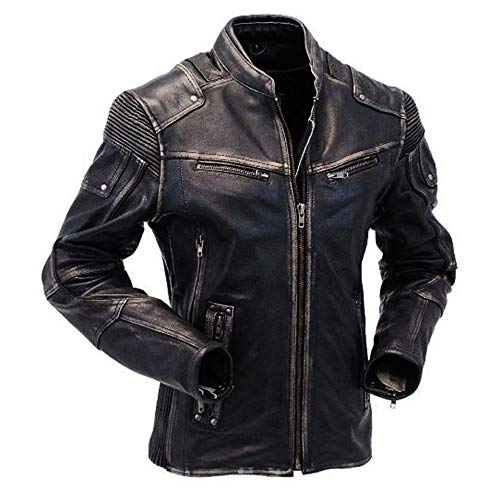 III-Fashions Brando Biker Men's Cafe Racer Antique Black Rider Distressed Leather Jacket (Medium, Distressed ()