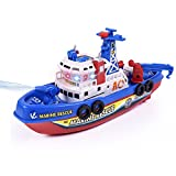 Qiyun Electric Toys Kids Electric Fire Fighting Ship Model with Sound Lights Water Spraying Boat Toys as Xmas Gifts