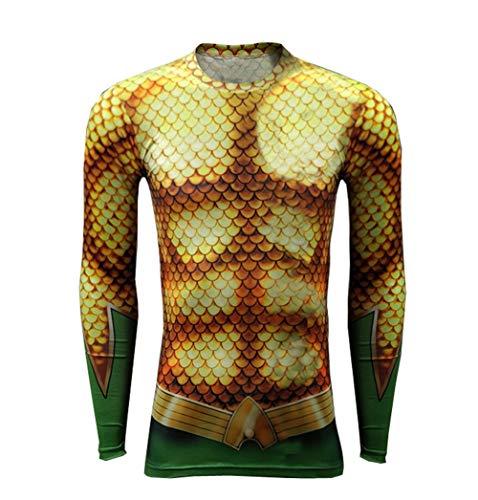 Uyebros Super Hero T-Shirt Mens Aqua Shirt Sport Compression T-Shirt Cosplay Costume (L, Aq-Man Long Sleeves)]()