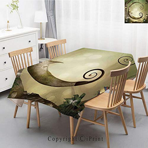 - Natural Cotton Linen Rectangle Tablecloth Garden Botanic Print Pattern Country Rustic Village Burlap Table Cover Cloth Art,40x60 Inch,Cartoon,Forest Secret Swing Old Tree Curly Half Moon Shaped Lamps
