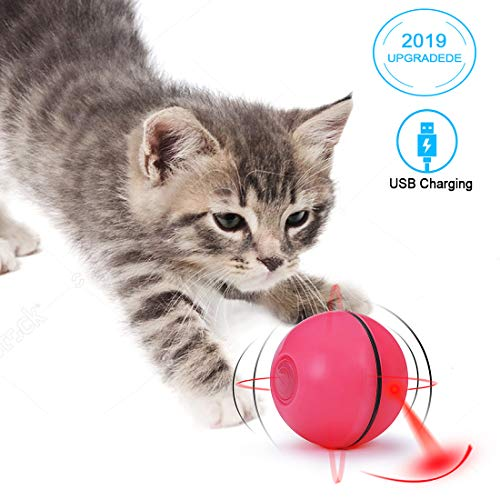 MTSLYH Cat Balls Smart Interactive Toys Upgraded USB Charging 360 Degree Self Rotating Automatic LED Light Ball Toy for Pet Entertainment Hunting Exercise