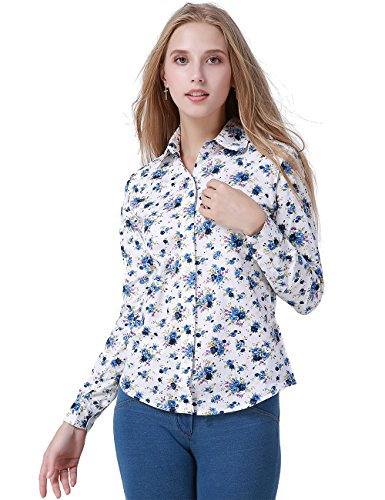 DOKKIA Women's Tops Tropical Casual Blouses Long Sleeve Work Button up Dress Beach Aloha Hawaiian Shirts (XX-Large, White Blue Purple (Floral Fabric Button)