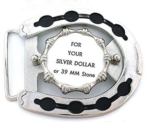 Silver Dollar 39mm Cab Horseshoe 10x8 Cabochon Silverplate Belt Buckle Mounting - Dollar Buckle