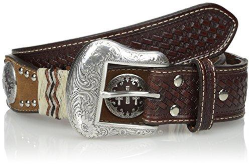 Western Leather Concho Belt (Nocona Men's Pro Tricross Scalop Raw, Brown,)
