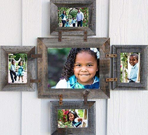 (ABW Decor Multi Photo Collage Frame for 1-8X10 & 4-5X7 Pictures, 5 Opening Multiframe, Rustic Barn Wood Picture Decor.)