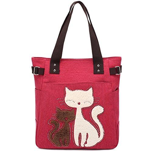 Women Canvas Handbag Kaukko Shoulder Bag Cat Big Tote Bag Red