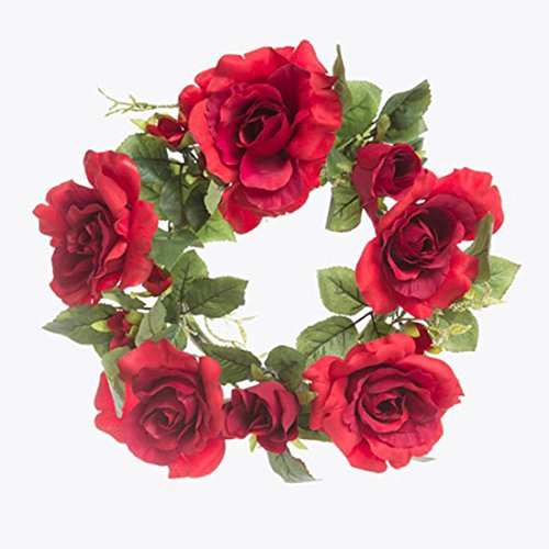 (Darice 30002001 Floral Candle Rings: Roses and Leaves-Red)
