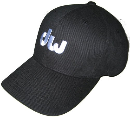 (DW Drum Workshop Flex Fit Hat, Black, with White Embroidered DW Logo, S/M )