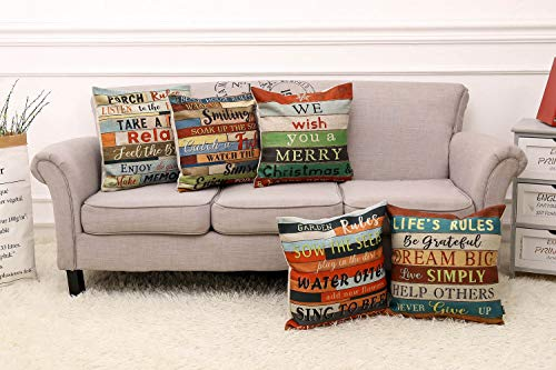 """TRENDIN Square Pillow Cover - 18 X 18 Inch Decorative Throw Pillowcase, Porch Rules PL240TR - BRAND: TRENDIN CREATIVE DESIGN: A great gift to your room decoration! this should be a perfect addition to your sofa, you also can put it in your bedroom, guest room, living room for a truly personalized style. DIMENSIONS: Approx.18""""x18"""" (or 45x45cm), perfectly fit for 18""""x18"""" pillow, there is 1-2 cm deviation in size because pillow cover are all handmade. - patio, outdoor-throw-pillows, outdoor-decor - 51%2B6MTvuGmL -"""