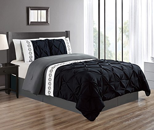 Grand Linen 3 Piece Queen Size Black/Grey/Gray Double-Needle Stitch Puckered Pinch Pleat All-Season Bedding-Goose Down Alternative Embroidered Comforter Set