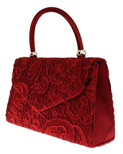 Designer Top Satin Vintage Clutch Handbag Girly Fashion Lace Wedding Burgundy Bag HandBags Handle Womens qvTwBctU